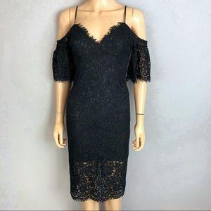 Bardot Black Lace Cocktail Dress Cold Shoulder